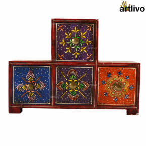 EMBOSSED Wooden Multicolor 4 Drawer Jewellery Decorative Box