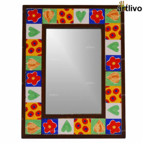 17 Inches Wooden Handcrafted Multicolor Tile Mirror Frame