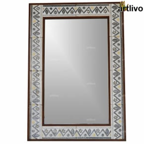 "32"" Zigzag Style Decorative Wall Hanging Tile Mirror Frame"