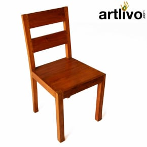 Wooden chair with glocy look yellow