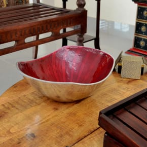 Shine Red Metal Fruit Bowl