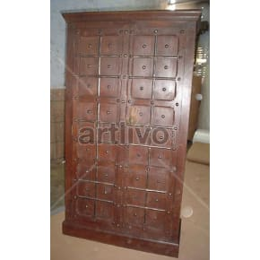 Vintage Indian Engraved stately Solid Wooden Teak Almirah