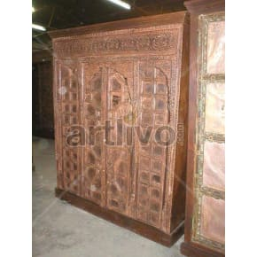 Restored Sculpted Splendid Solid Wooden Teak Almirah with 4 drawer