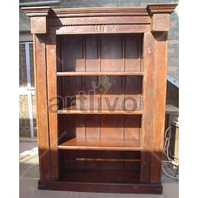 Vintage Indian Carved Deluxe Solid Wooden Teak Bookshelf