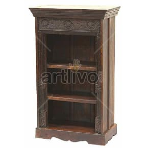 Vintage Indian Brown Rich Solid Wooden Teak Bookshelf