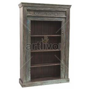 Vintage Indian Brown Palatial Solid Wooden Teak Bookshelf