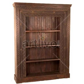Vintage Indian Brown Royal Solid Wooden Teak Bookshelf