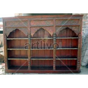 Vintage Indian Brown Stately Solid Wooden Teak Bookshelf
