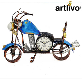 "POPART Blue Bike Table Clock With 4"" Dail"