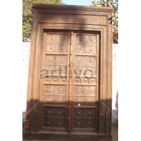 Vintage Indian Carved Extravagant Solid Wooden Teak Door