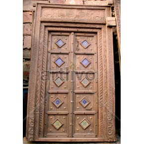 Vintage Indian Carved Palatial Solid Wooden Teak Door with multicolor design blocks