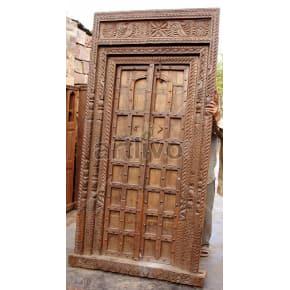 Vintage Indian Carved Illustrious Solid Wooden Teak Door