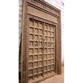 Vintage Indian Brown Rich Solid Wooden Teak Door