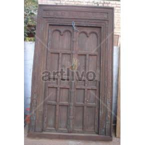 Vintage Indian Brown Extravagant Solid Wooden Teak Door