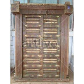 Vintage Indian Brown Splendid Solid Wooden Teak Door