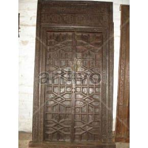 Vintage Indian Chiselled Rich Solid Wooden Teak Door