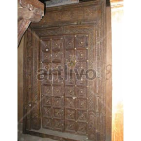 Vintage Indian Chiselled Illustrious Solid Wooden Teak Door