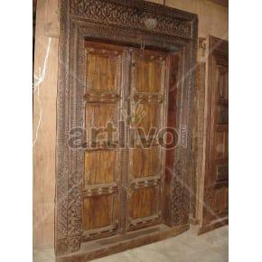 Vintage Indian Engraved Magnificent Solid Wooden Teak Door