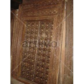 Vintage Indian Engraved Supreme Solid Wooden Teak Door