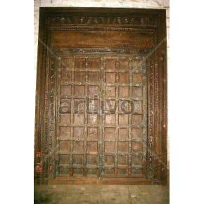 Vintage Indian Sculpted Unique Solid Wooden Teak Door