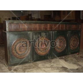Vintage Indian Carved Splendid Solid Wooden Teak Sideboard with 4 door circular design
