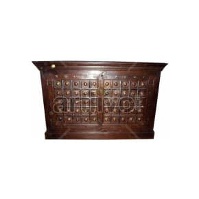 Vintage Indian Brown illustrious Solid Wooden Teak Sideboard with metal sun in square block