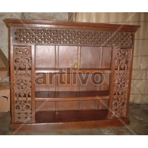 Vintage Indian Chiselled Extravagant Solid Wooden Teak Sideboard with open side