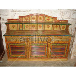 Vintage Indian Chiselled Splendid Solid Wooden Teak Sideboard with 3 drawer 3 door & 2 glass shelf on top