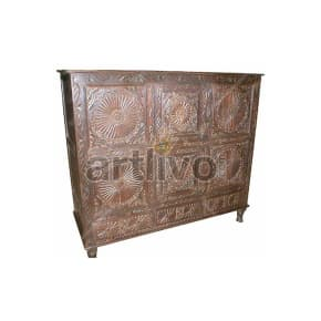 Vintage Indian Engraved Opulent Solid Wooden Teak Sideboard with chisseled work