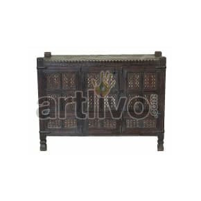 Antique Indian Carved imperial Solid Wood dark brown color with chiseled wood art Trunk