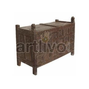 Antique Indian Carved magnificent Solid Wood brown color with chiseled wood art Trunk