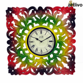 POPART Carved Square Wall Clock 20""