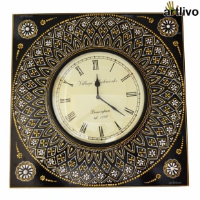 EMBOSSED Black Square Wall Clock 21""