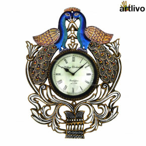 POPART Double Peacock Wall Clock 12 Dial