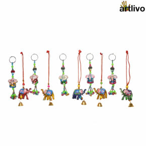 POPART Combo of Ganesha Key Chain and elephant Hanging - Set of 10