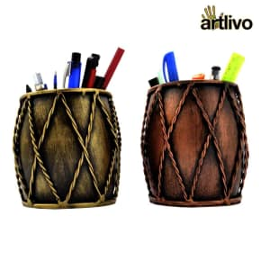 Iron Dholak Pen Stand Set of 2