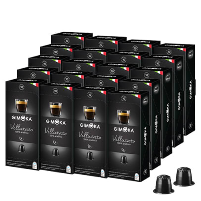 Gimoka Vellutato Big Pack package and capsule for Nespresso®