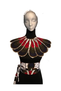 Ankara - Plastron and Belt Collar Set, Set Bib and Belt, African print