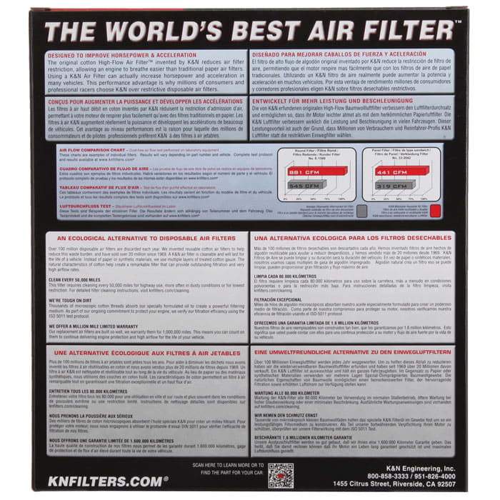 K/&N 33-2457 High Performance Replacement Air Filter