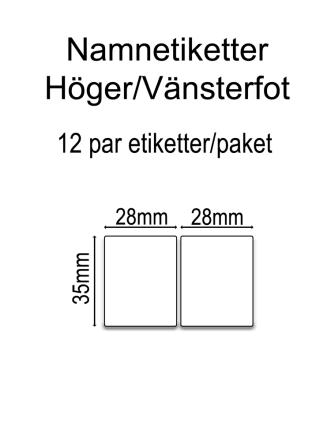 Namnetiketter Höger/Vänsterfot