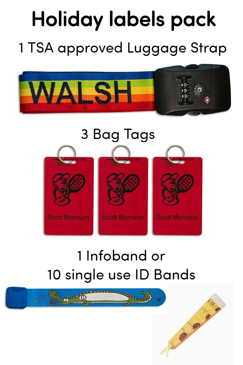 Holiday pack for travel security, labels4kids