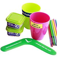 name labels pack with application ideas on tupperware