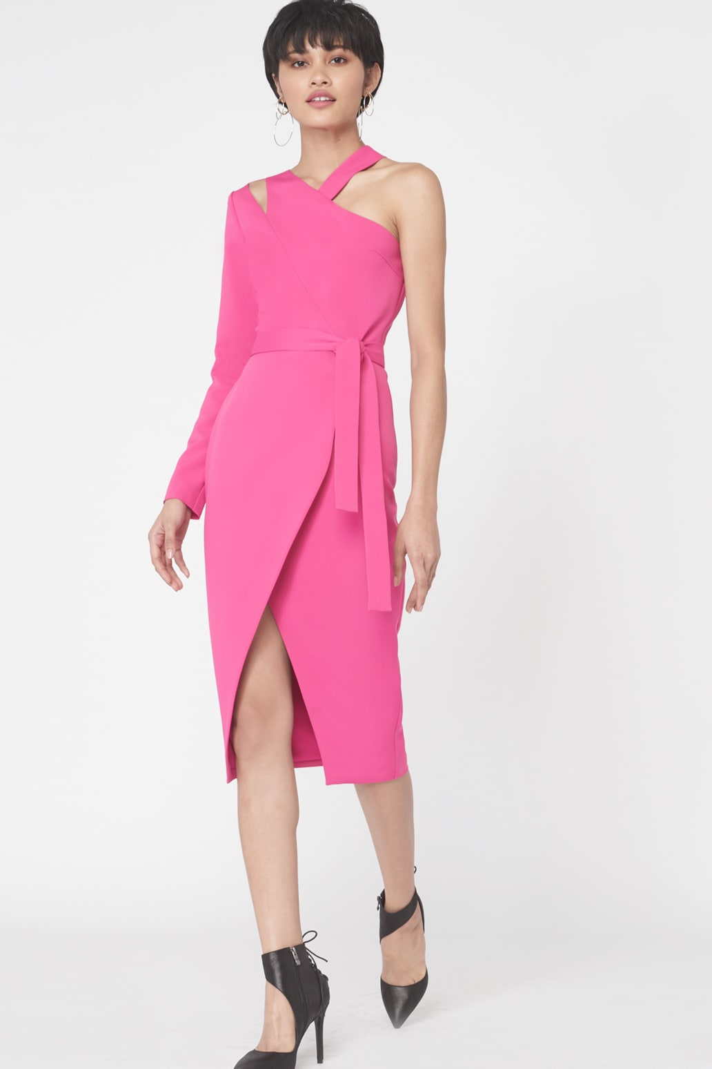 Asymmetric Shoulder Cutout Dress  in Fuchsia Pink