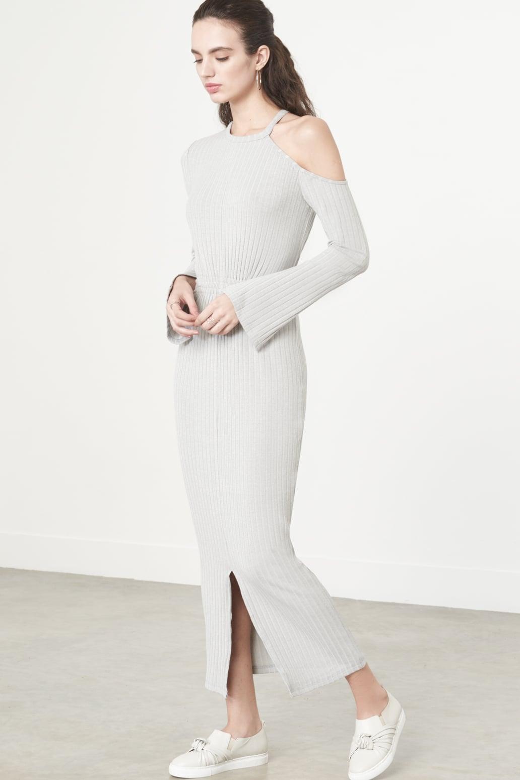 Cutaway Asymmetric Dress in Grey Knit