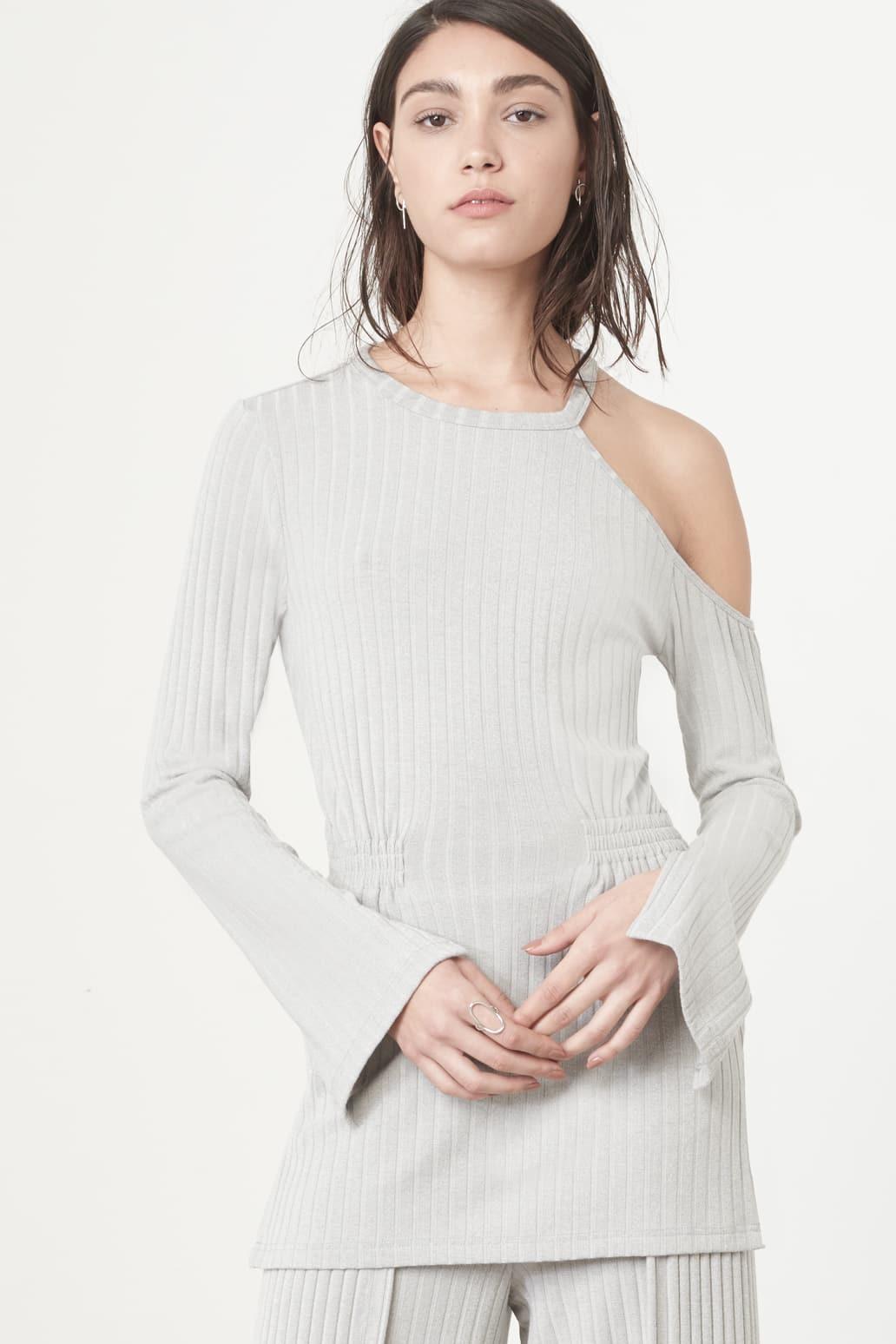 Cutaway Asymmetric Tunic Top in Grey Knit