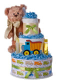 Lil Baby Cakes Bear with Truck Boys Diaper Cake