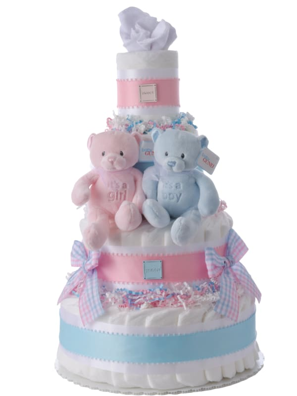 Baby Bear Twins Boy and Girl Diaper Cake