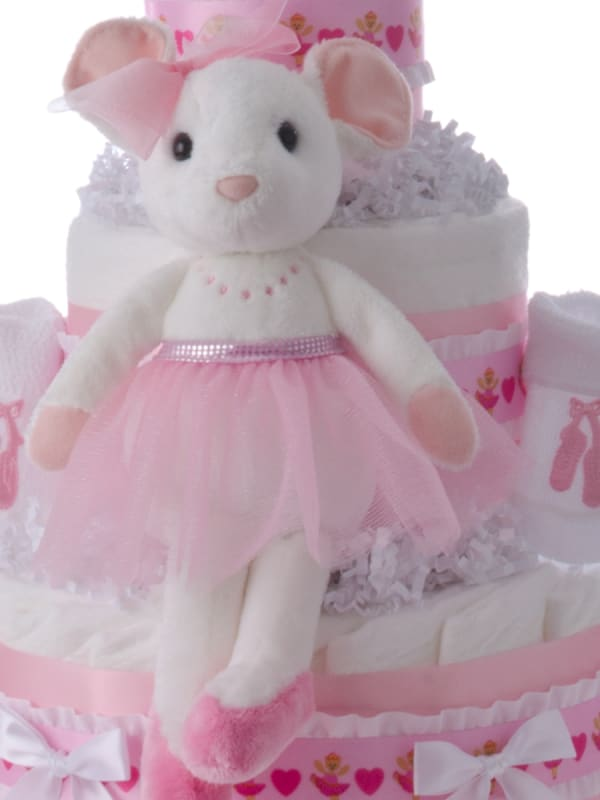 Ballerina Pink Baby Diaper Cake for Girls