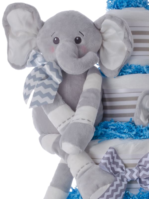Ultimate Elephant Pampers 5 Tier Cake Blue