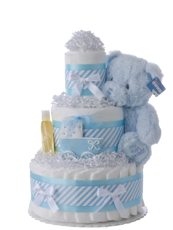 Blue Carriage Diaper Cake for Boys